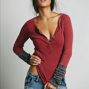 FREE PEOPLE Alpine Cuff Thermal Henley Top